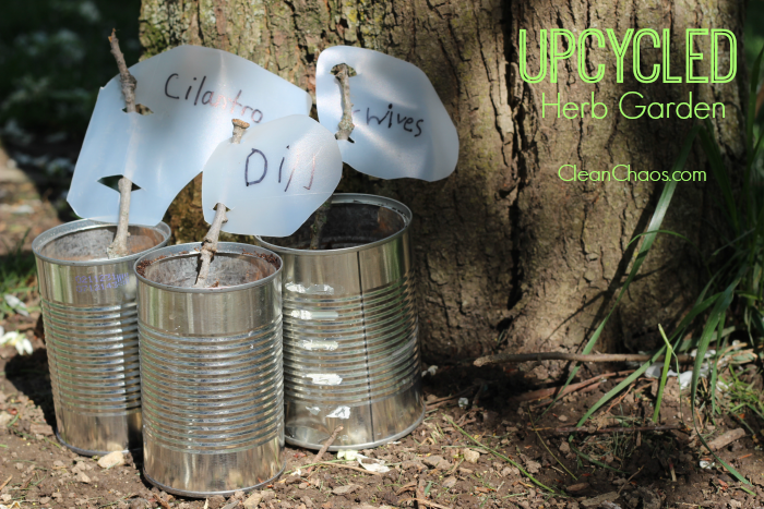 Here's a fun Earth Day or Mother's Day kids craft, to make an Upcycled Herb Garden with recycled items!