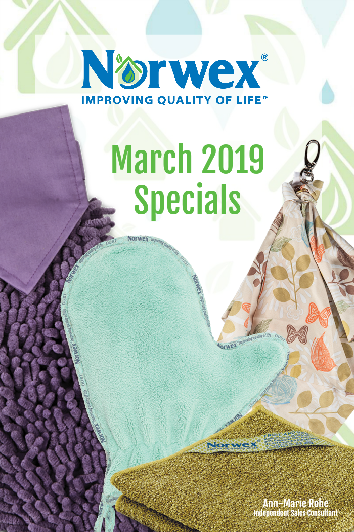 Take a look at all the goodies you can receive when you host, and the deals you can steal as a customer, with our Norwex March 2019 Specials!